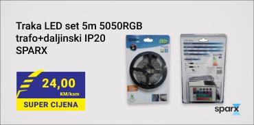 Traka LED set 5m 5050RGB trafo+daljinski IP20 SPARX